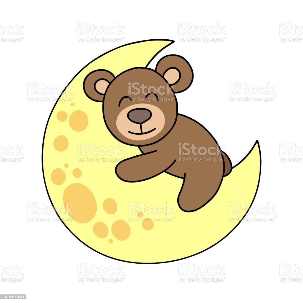 かわいいクマさんは月に敷設します漫画動物フラット イラスト カード