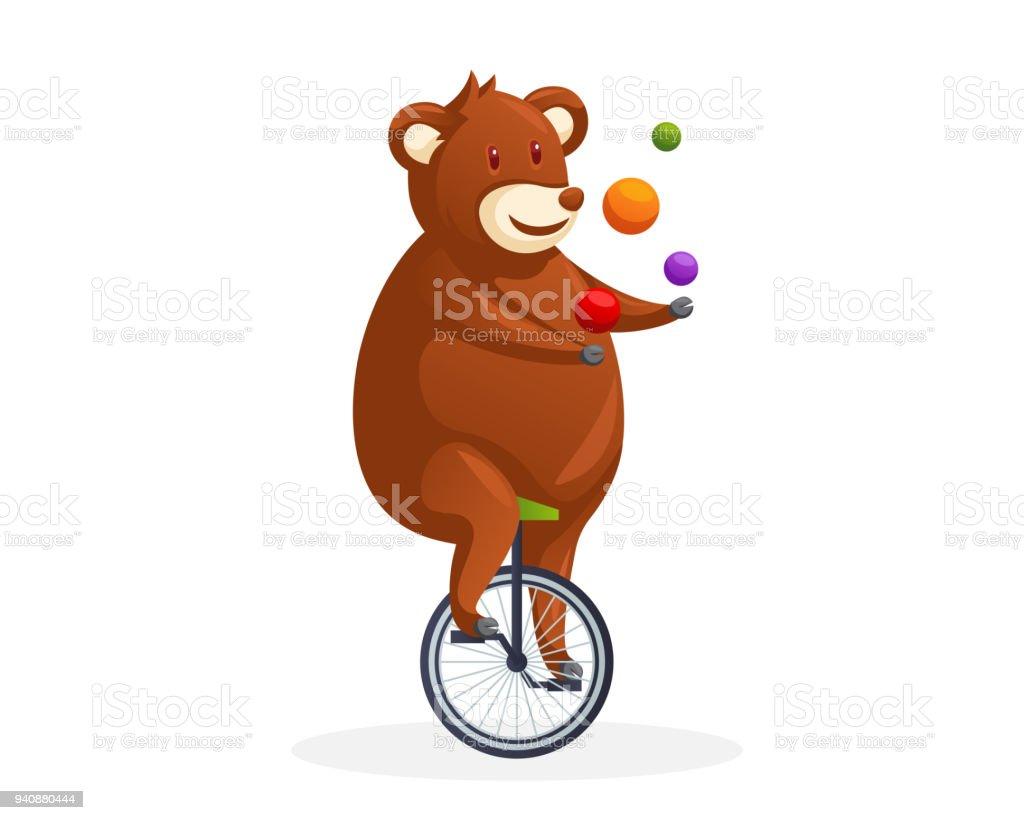 かわいいクマ一輪車サーカス漫画キャラ イラストをジャグリング - お祝い