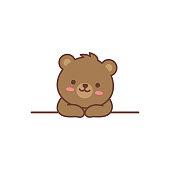 Cute bear over wall cartoon, vector illustration