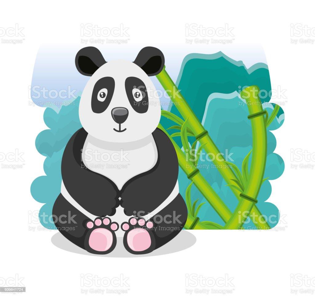 Niedlicher Bär Panda Mit Bambus Pflanzen Orientalische Kultur Stock