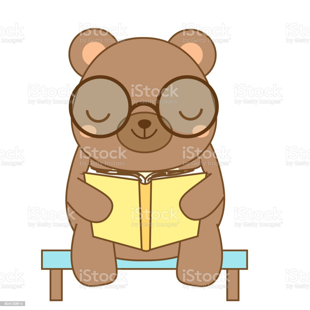 cute bear reading book cartoon animal character for kids toddlers