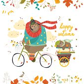 Cute bear riding a bicycle with sleeping cub. Vector isolated illustration