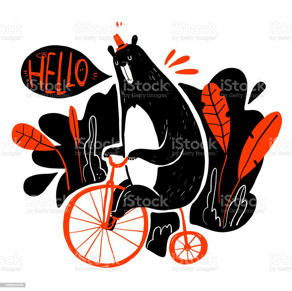 Cute bear riding a bike vector art illustration