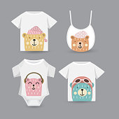 cute bear set for baby,  t-shirt print, textile, patch, kid product,pillow, gift.vector illustrator