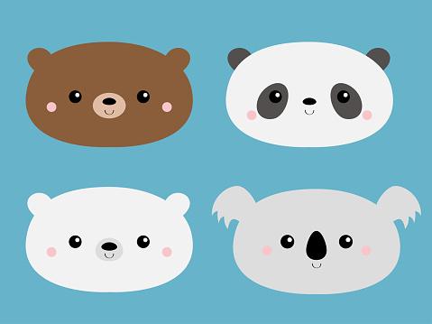 Cute bear set. Grizzly, panda, koala, polar cub. Funny head face. Kawaii cartoon character. Happy Valentines Day. Notebook cover, tshirt. Baby greeting card template. Blue background. Flat design.