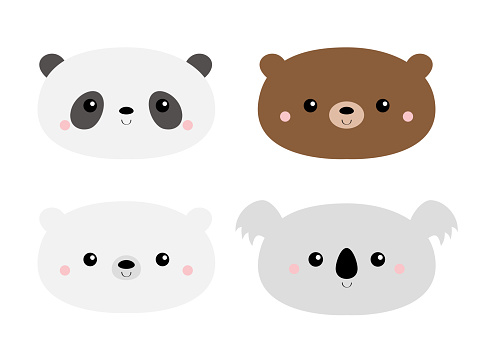 Cute bear set. Koala, panda, grizzly, polar cub. Funny head face. Kawaii cartoon character. Happy Valentines Day. Notebook cover, tshirt. Baby greeting card template. White background. Flat design.
