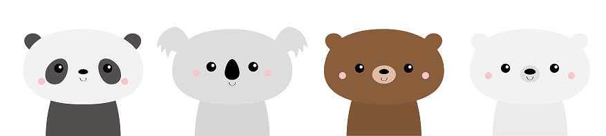 Cute bear set. Panda, koala, grizzly, polar cub. Kawaii cartoon character. Funny head face. Happy Valentines Day. Baby greeting card template. Notebook cover, tshirt. White background. Flat design.