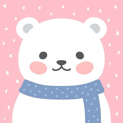 Cute Bear vector print, baby shower card