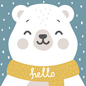 teddy with hello write cartoon illustration, christmas greeting card, kids cards for birthday poster or banner, cartoon invitation