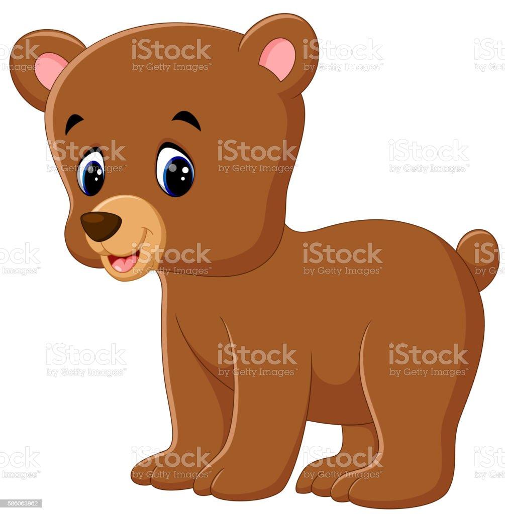 Cute bear walking vector art illustration