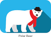 cute bear wear a scarf and a cap, vector