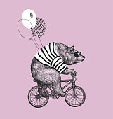 Cute bear wearing cool galssess riding bicycle. Bear with the balloon. T-shirt print design. Circus show illustration. T-shirt graphics, fashion print design.