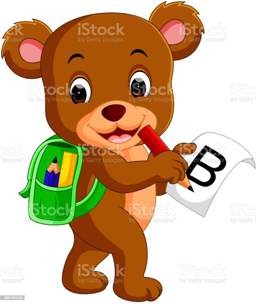 Cute bear with backpack vector art illustration