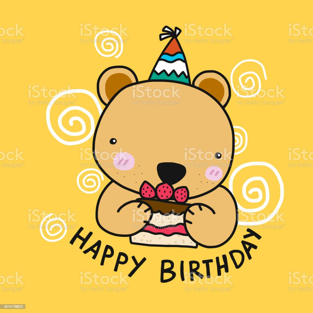 Niedliche Baren Mit Kuchen Happy Birthday Cartoon Vektor Illustration Lizenzfreies