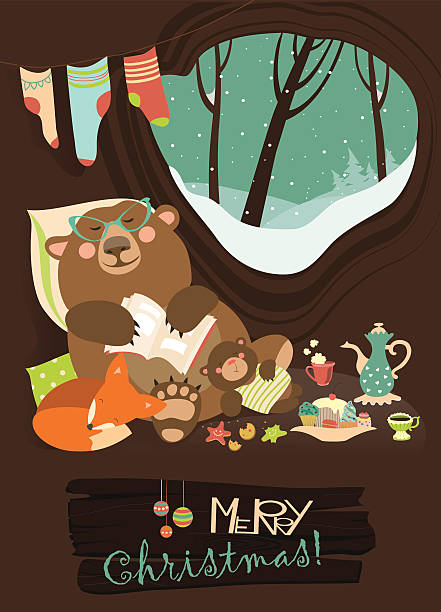 cute bear with cub and little fox sleeping in his - hibernation stock illustrations, clip art, cartoons, & icons