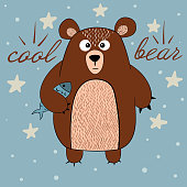 Cute bear with fish illustration. Idea for print t-shirt. Vector eps 10