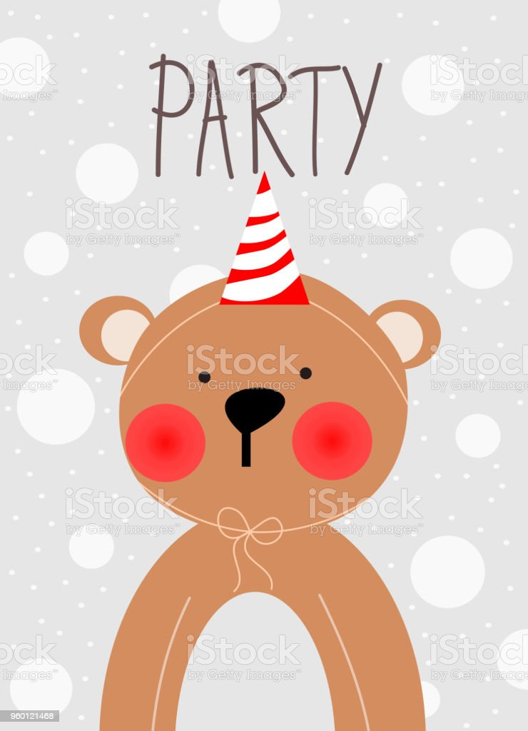 cute bear with party background for invitation greetings card theme