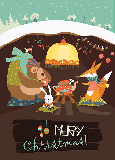 cute bear with rabbit and fox celebrating christmas in his - hibernation stock illustrations