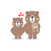Cute bears characters cartoon family with mom, dad and baby animal