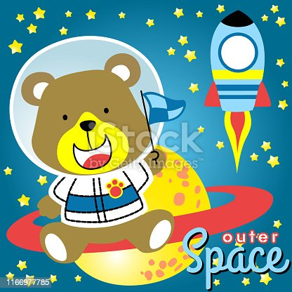 cute bears the astronaut sit down in saturn planet with a rocket flying in outer space. Kids t shirt design