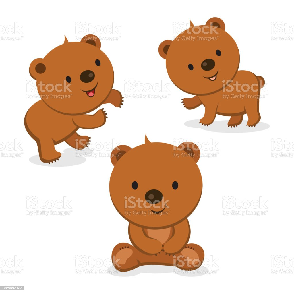 Cute bears vector art illustration