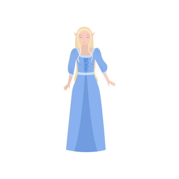 Cute beautiful fairy tale blonde elf princess Cute beautiful fairy tale blonde elf princess in long blue dress. Flat style. Vector illustration on white background diademe stock illustrations