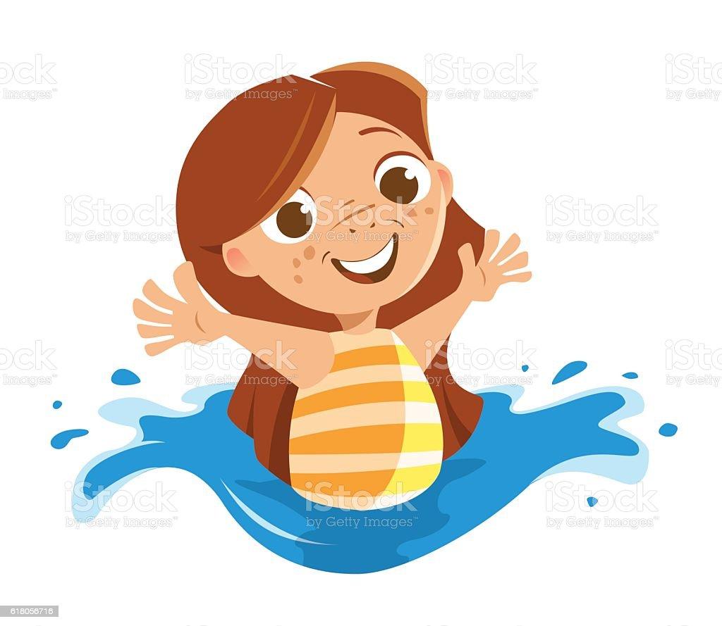 Cute Beautiful Little Girl Playing Sea Ocean Swimming Pool ...  Little