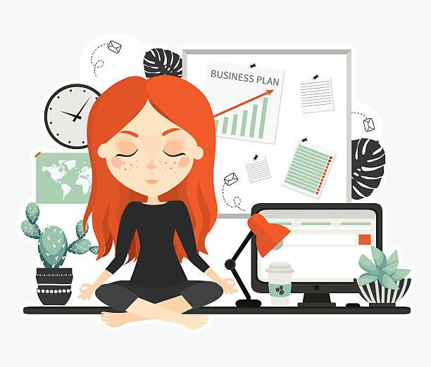 ilustrações de stock, clip art, desenhos animados e ícones de cute beautiful young woman at work. - portrait of confident business