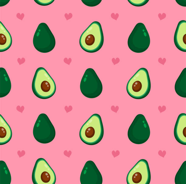 Cute beauty avocado and hearts Cute beauty avocado and hearts seamless pattern. Vector flat cartoon illustration icon design, Isolated on pink background. Avocado pattern concept avocado stock illustrations