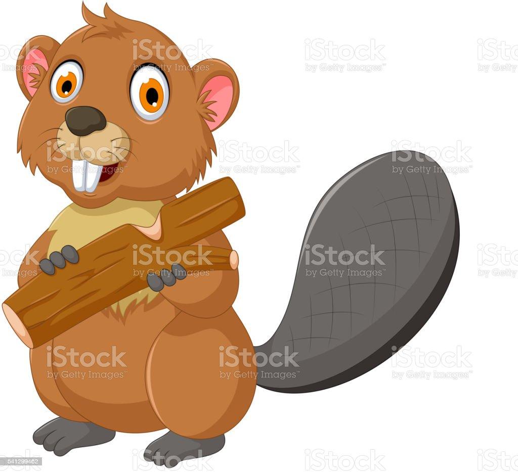 cute beaver cartoon eating wood vector art illustration