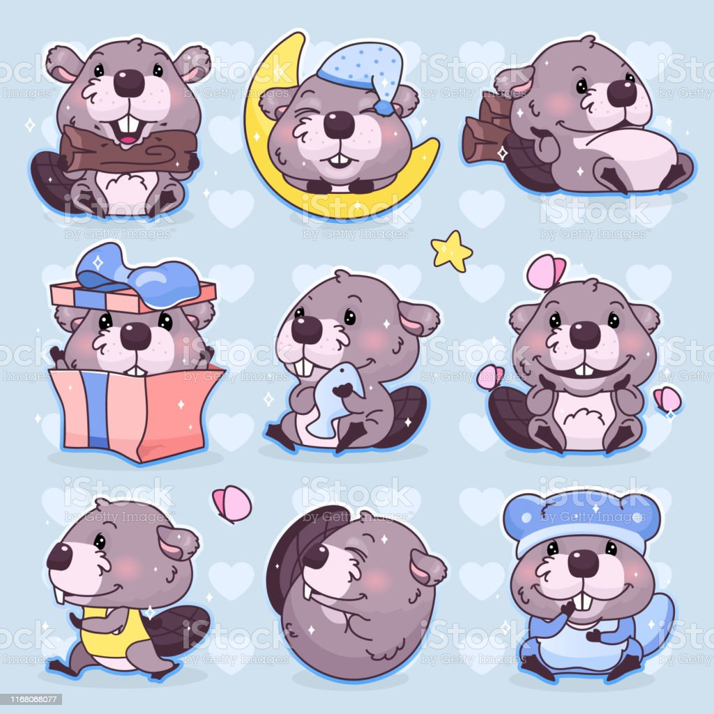 Cute Beaver Characters Stock Illustration Download Image Now Istock