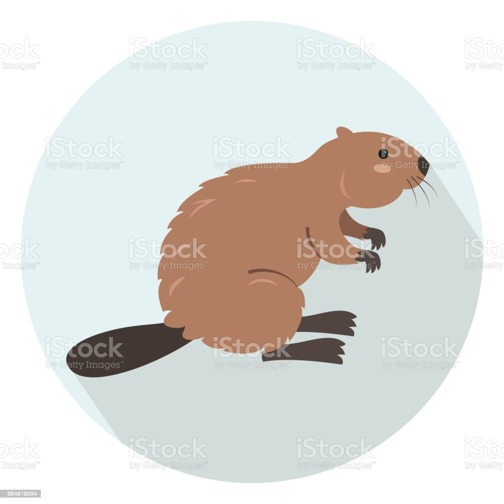Cute beaver on blue background. royalty-free cute beaver on blue background stock vector art & more images of animal