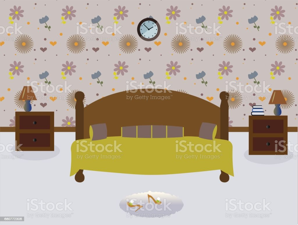 Superieur A Cute Bedroom. Lamps On The Tables Royalty Free Stock Vector Art
