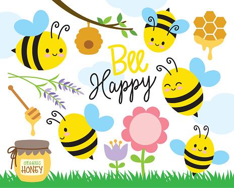 Cute Bee and Honey