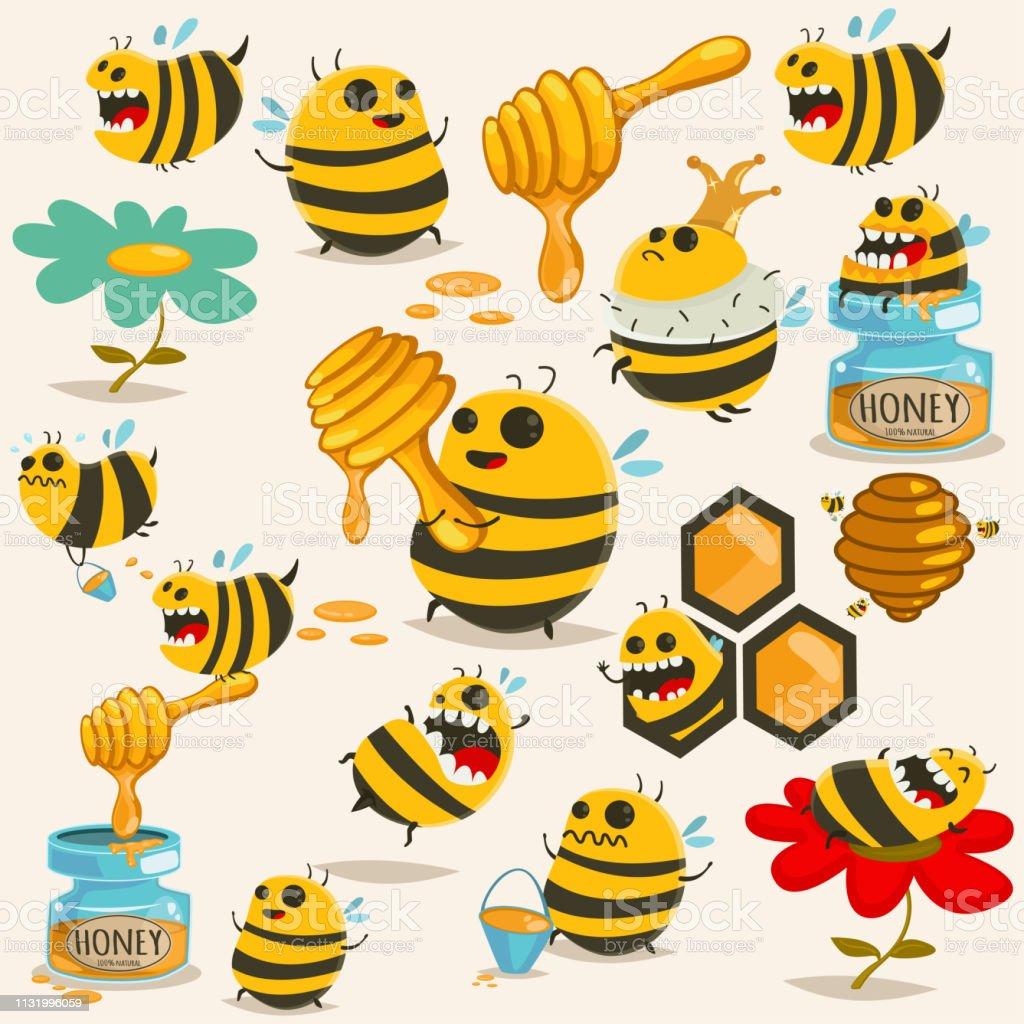 かわいい蜂漫画キャラクターベクターセット蜂蜜蜂の巣スティック瓶背景に分離ハニカムイラスト アイコンのベクターアート素材や画像を多数ご用意 Istock
