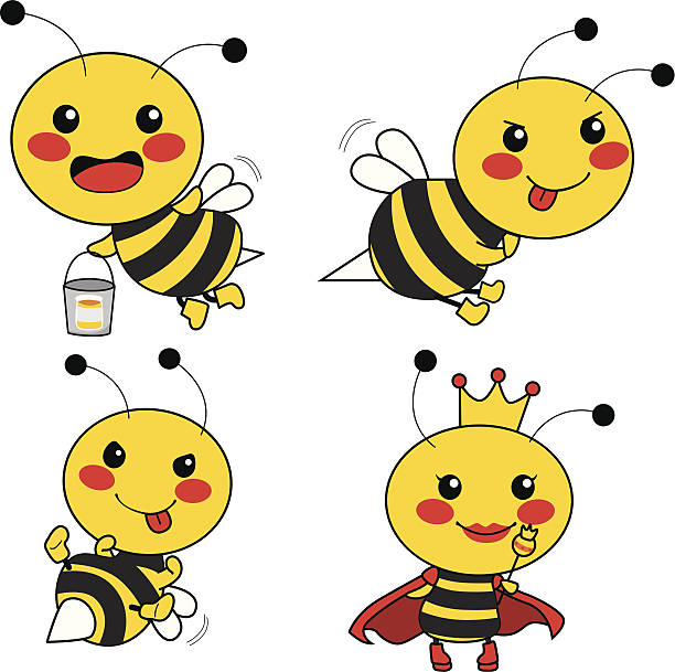 Cute Bee Characters Cute bee worker with two soldiers and the Queen bee. queen bee stock illustrations