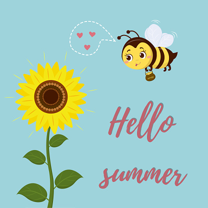 A cute bee flies to the sunflower flower to collect nectar. Postcard Hello Summer. Vector, cartoon style