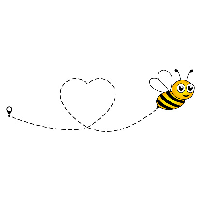 Cute bee flying icon. Heart dotted lines