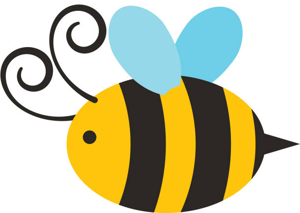cute bee flying icon vector art illustration