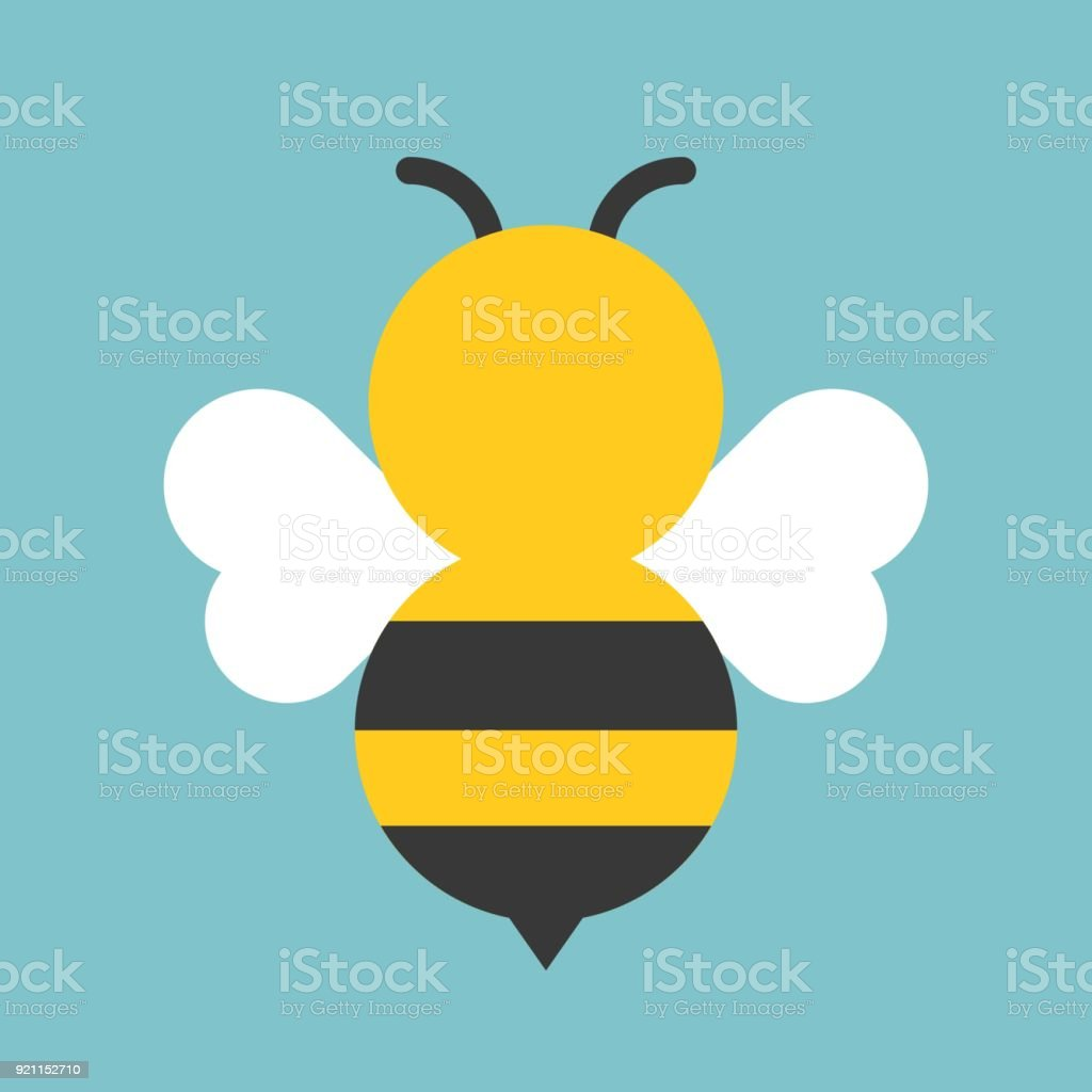 Cute bee icon, flat design vector vector art illustration