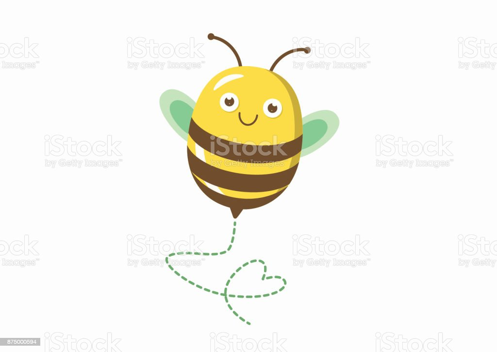 Cute bee illustration with heart shaped path – artystyczna grafika wektorowa