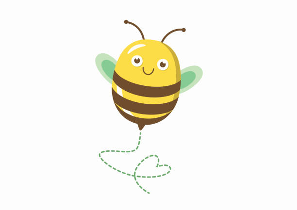 Cute bee illustration with heart shaped path vector art illustration