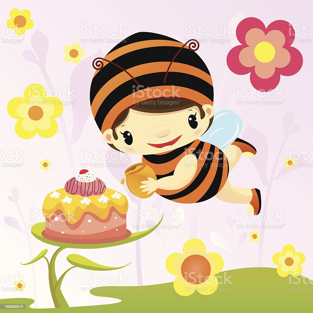 Cute bee making birthday cake royalty-free stock vector art