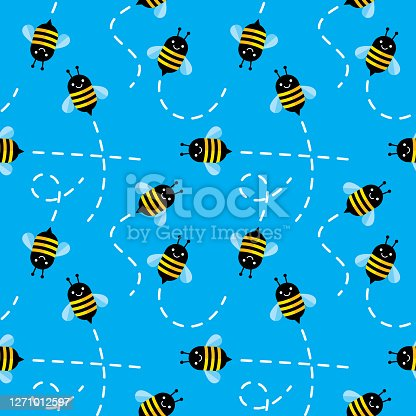 Vector illustration of cute bees flying in a repeating pattern against a blue background.
