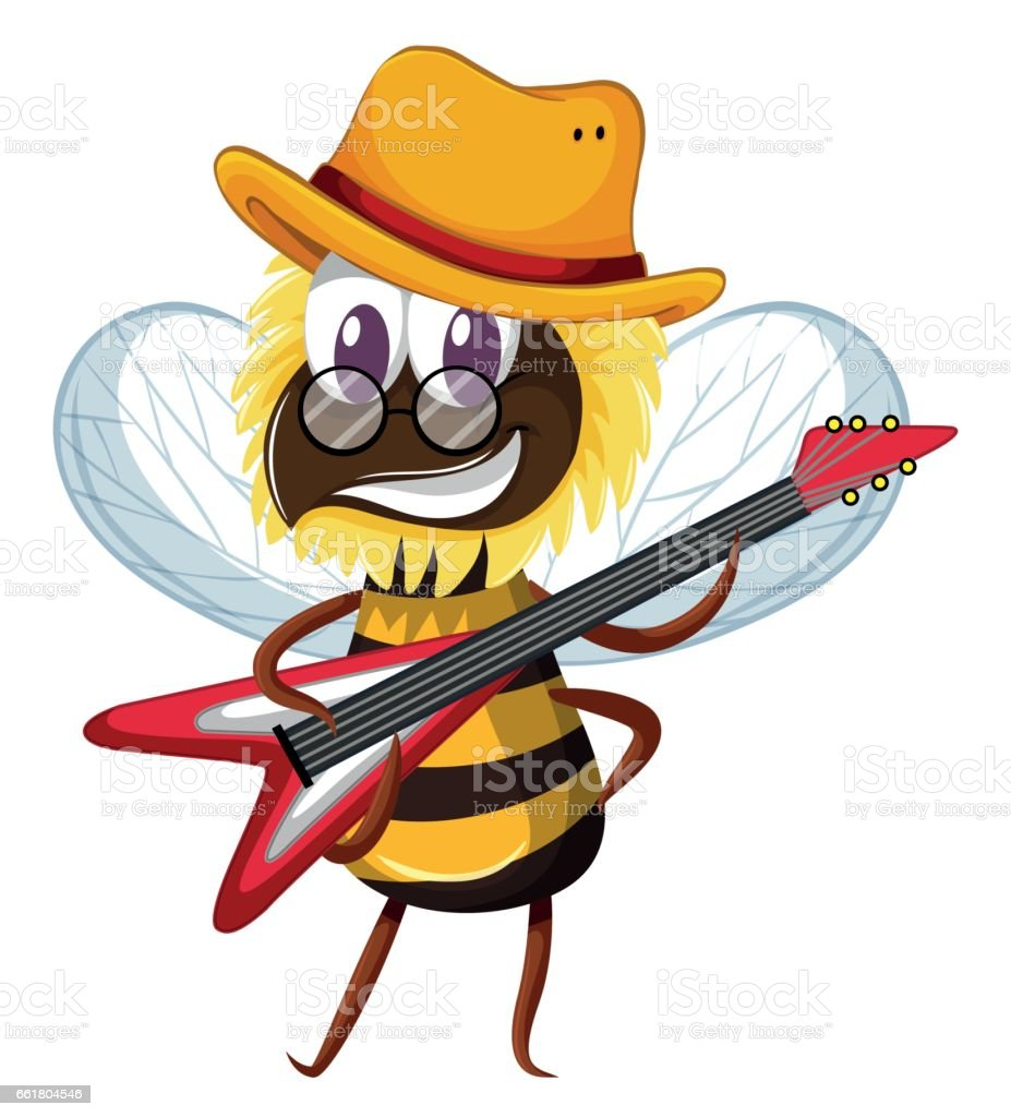 Cute bee playing electronic guitar vector art illustration