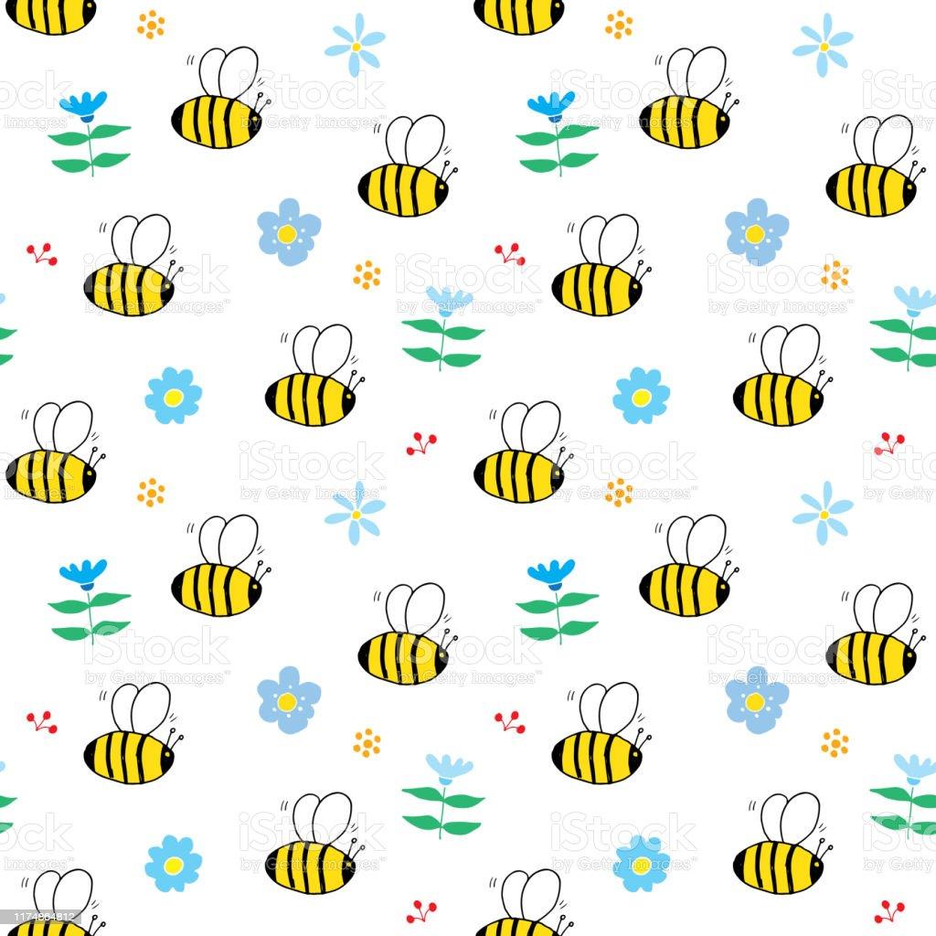 かわいい蜂シームレスパターン漫画の手描きミツバチ落書きベクトルイラスト いたずらのベクターアート素材や画像を多数ご用意 Istock