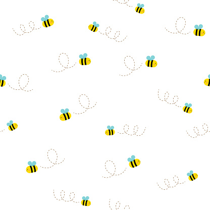 Cute bee seamless pattern vector illustration. Flying bees on white background.