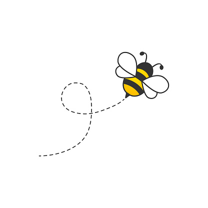 Cute bee with dotted route.