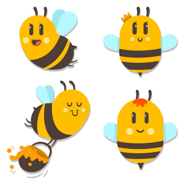 Cute bee with honey vector cartoon character set isolated on white background. Bee with honey vector cartoon character set. queen bee stock illustrations