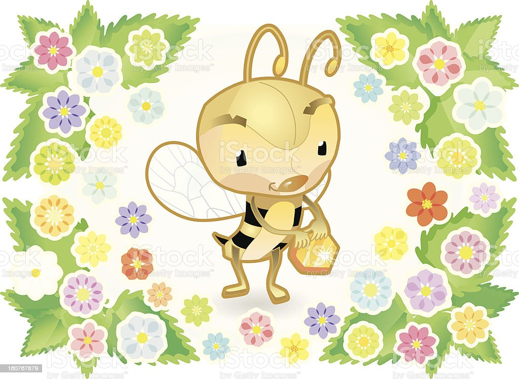 cute Bee with Honeycomb, Flowers and Leafs around. royalty-free cute bee with honeycomb flowers and leafs around stock vector art & more images of bee